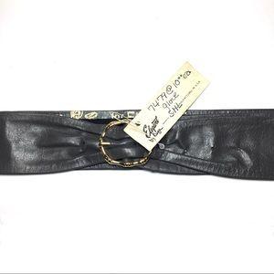 Vintage grey leather gold bamboo buckle belt